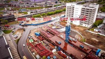 YONGMAO STT1330 г/п 64т. Строительство транспортной развязки Юго-Восточной хорды в Москве